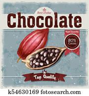 retro illustration of cocoa beans, fruit of chocolate tree on grunge background.