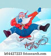 Santa Claus to roll on sledge from the mountain. modern, eps 10
