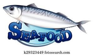 thunfisch, und, meeresfrüchte, zeichen