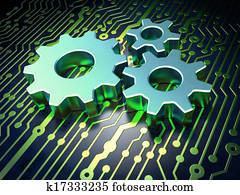 Web development concept: Gears on circuit board background