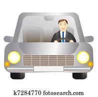 driver man in silver car