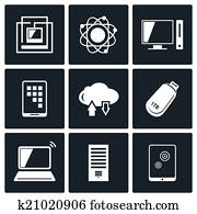 Exchange of information technology icons set