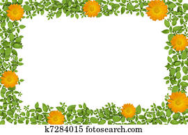 Green plant frame with yellow flowers