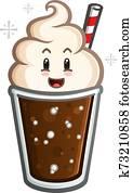 Root Beer Float Cartoon Character Mascot