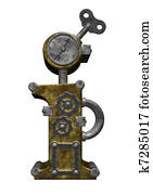 steampunk letter i