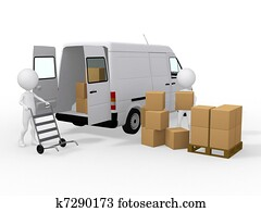 3d workers loading boxes to a van