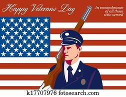 American Veterans Day Greeting Card Retro