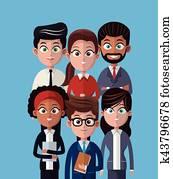 cartoon people team work professional