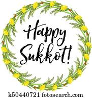 Clip art of jewish boys building tabernacles happy sukkot k40220598 happy sukkot round frame of herbs jewish holiday huts template for greeting card with etrog m4hsunfo