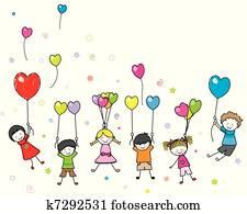 kinder, spielen, mit, luftballone