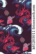 pattern of asian dragon