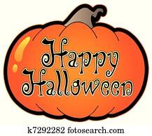 Pumpkin with Happy Halloween sign