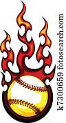 Baseball with Flames Vector Image