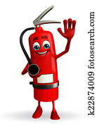 Fire Extinguisher character with hello pose