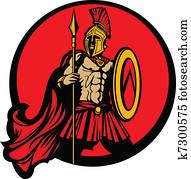 griechischer, spartan, trojan, vektor, maskottchen