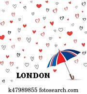 Heart background with umbrella. Love pattern for greeting card.