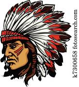 Indian Chief Mascot Head Vector Gra