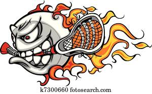 Lacrosse Ball Flaming Face Vector I