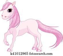 rosa, pferd