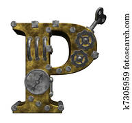 steampunk letter p