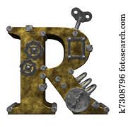 steampunk letter r