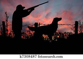 Sunrise Hunt, A Hunter and his Dog