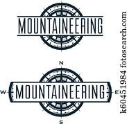 bergsteigen, vektor, logo, und, etiketten, set.