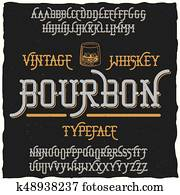 Bourbon Vintage Whiskey Typeface Poster