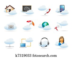 Cloud computing concept Icon
