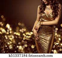 Fashion Model Body in Gold Dress, Woman Elegant Golden Gown, Beautiful Lady