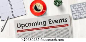 Newspaper on a desk - Upcoming events