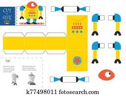 schneiden, und, klebstoff, roboter, spielzeug, vektor, illustration., papier, handwerk, und, erzieherisch, arbeitsblatt