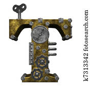 steampunk letter t