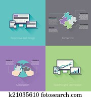 webentwicklung, minimal, flache, busine