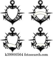 anchor and wind rose and shield