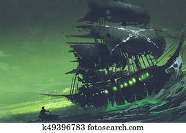 Flying Dutchman ghost pirate ship in the sea with mysterious green light