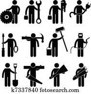 bauhofarbeiter, arbeit, symbol, pictog