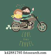 Happy couple in love riding a motorcycle