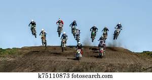 group athletes motocross riders