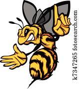 Hornet Bee Wasp Cartoon Vector Imag