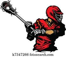 Lacrosse Player Cradling Ball Illus