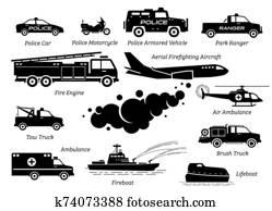 liste, von, notfallantwort, fahrzeuge, symbol, set.