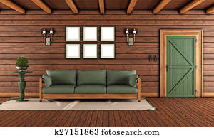 Living room of a wooden house