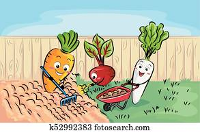 Mascot Root Crops Soil Preparation Illustration