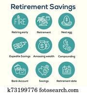 pensionierungsspareinlagen, symbol, satz, -, geld, bags,, nest, egg,, kalender, und, mehr