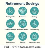 Retirement Savings Icon Set - money bags, nest egg, calendar and more