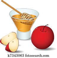 Rosh Hashanah Glass Of Honey With Apples