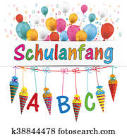 Candy Cones Banner Balloons Letters Schulanfang