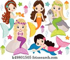 Vector Cute Little Mermaids with Marine Animals. Vector Mermaids and Sea Animals