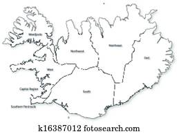 Vector map of Iceland with regions & cities Clip Art | k16387019 ...